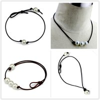 süßwasserperle chokers großhandel-Frauen Mode Halsreifen Perlenkette Schmuck Handgemachte Leder Seil Perle Anhänger Halskette Nachahmung Natürliche Süßwasserperlen Halskette