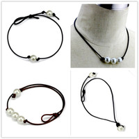 Wholesale Pendant Necklace Pearl Natural - Women Fashion Chokers Pearl Necklace Jewelry Handmade Leather Rope Pearl Pendant Necklace Imitation Natural Freshwater Pearl Necklace
