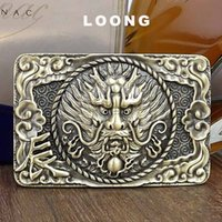 3D Animals New Design Solid Brass Loong Pattern Slide Buckle Fit para 3.6-4.0cm Wide Belt Men's Unique Chinese Zodiac Smooth Belts BUK0001
