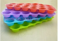 Wholesale Mini Baking Cupcake - Wholesale- Mini Muffin Puncakes Biscuit Pans 24 Cupcakes Silicone Mold Cups Mold Non Stick Tray Bakeware Baking Tools FREE SHIPPING
