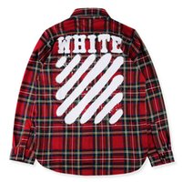 Wholesale OFF WHITE Hip Hop Street Plaid Shirts Men Casual Shirt Flannel Cotton Thick Autumn Fall Shirts Youth Long Shirts