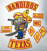 Wholesale Embroidered Iron - Hot Sale 10pcs Set BANDIDOS TEXAS MC Patch Embroidered Iron-On Full Back Size Jacket Vest Motorcycle Biker Patch 1% Patch Free Shipping