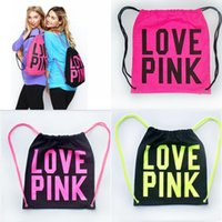 Wholesale Wholesale Fashion Shop - Women Victoria Pink Backpack LOVE PINK School Bags Pink Letter Storage Bags Fashion Canvas VS Organizer Shopping Bags Drawstring Bag