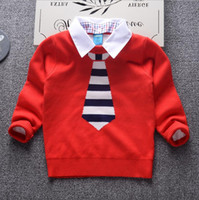 Wholesale Children Detachable Collar - 2017 Autumn Winter New Shirt collar detachable Kids Boy Sweater Coat Children Clothing Baby Cotton thick wool top Boys Pullover