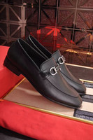 Wholesale Dresses Custom Men - Fashion Designer Brand Dress Shoes Platform Oxfords Men's Custom Handmade Slip On Genuine Leather Business Shoes Size 38-44