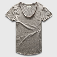 Wholesale Plain Fitted T Shirts Men - Wholesale- Plain Basic Top Tees Men Casual Deep V Scoop Neck T-Shirt Male Slim Fit T Shirt Luxury Curved Hem Navy Tee Muscle
