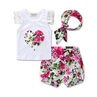 Wholesale Shorts Band Flowers - 3 Styles Girls Fashion LOVE Letters Flowers Sets 2017 New Children Short sleeve T-Shirt +Short pants +Hair band 3 pcs Suit Floral Suits A01