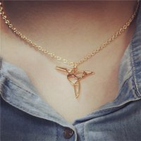 Wholesale Hummingbird Charms - Animal hummingbird lover charm necklace gold tone hummingbird necklace bracelet pendant
