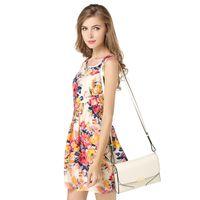 Wholesale Cheap Clothes Factories - Newest Fashion Women Casual Dress Plus Size Cheap Floral Dress Chiffon Vest Women Clothing Fashion Sexy Sleeveless Dress Factory Direct
