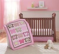 Wholesale Pink Crib Dust Ruffle - girls crib bedding set 4 PCS princess pink butterflies embroidered Inc comforter crib padding coversheet dust ruffle