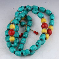 China Collectibles Handwork Turquesa Beeswax Toyed Prayer Bead Necklace HH886