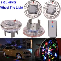 Wholesale Led Car Light Flash Bright - 4PCS x 7 color wireless Bright Car Wheel Decoration LED Lights Solar Energy Flash Tire Rim wheel Lamp light with remote control RGB