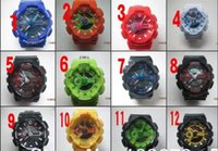 Wholesale Men S Silicone Watch - CHINA 2017 BIG CASE cheap Candy quartz children plastic LED Swimming GA-110 men sport Camouflage watches Classic S Shock denim men watch