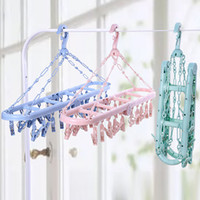 New Drip Hanger Roupa seca Roupa interior Calças Grampos Folding Multi Functional 20 Clips Laundry Hanging Racks