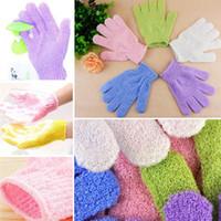 Wholesale flower wash towel online - DHL Exfoliating Bath Glove Five fingers Bath Gloves bathroom accessories nylon wash towel Scrubbers Bathing supplies bath products