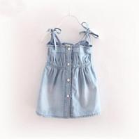 Wholesale Suspender Jeans Skirt - 2017 Summer Girls Children Jeans Skirt Slip Dress Baby Kids Denim Cotton Suspender Vest Dress Child Pleated Dresses Blue