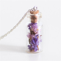 lila getrocknete blumen großhandel-12 teile / los Mini Getrocknete Limonium Blume Glasflasche Halskette Lavendel Mori Mädchen Violet Lila Vergiss mich nicht