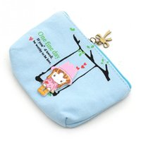2016 New Cartoon Lovely Wallet Pouch Card Purse Zip Chaveiro Holder Case Mini Canvas Bags Canvas Cute Adorable Swing Girl Coin Bag