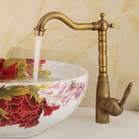 Wholesale Polished Brass Kitchen Sink Faucets - Antique Style Bathroom Sink Faucet with 1 handle Polished Brass Kitchen Faucet for Ceramic Under Counter Plates 360 Degree Rotatable Taps