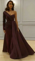 Wholesale Middle Sleeve Dress - 2017 Middle East Evening Dresses Burgundy Prom Dresses with Asymmetrical Long Sleeve and Thigh High Split with Overskirt Pageant Dresses