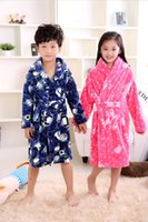 Wholesale Thick Baby Pajamas - Wholesale- Autumn Winter Flannel Nightgown Children'S Pajamas Thick Coral Boys And Girls Children Baby Bathrobe Home Wear Kimono Soft Warm