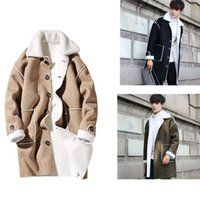 Wholesale Long Skirt Fashion Winter - 2017 Mens Winter Suede Trench Coat Fall-Shearling Single Breasted Trench Wool Inside Long Men's Winter Clothing