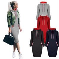 Wholesale Dress Belts Jumper - Women High Collar Hoody Sweatshirt Long Sleeve Choker Sweater Hoodies Jumper Winter Dress 6 Colors OOA3344