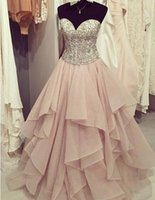 Wholesale Cute Maternity Pictures - Elegant chiffon tiered Blush A-line sweetheart sequins long Prom Dresses for teens cute graduation dresses for party with ruffles