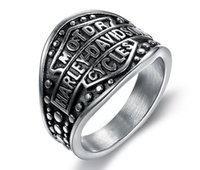Wholesale motorcycle rings wholesaler - 316 stainless steel fashion silver black motorcycle mens ring band party hot large size biker mens ring size 7~15