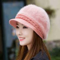 Wholesale Rabbit Ear Hat Pink - 2017 Winter Rabbit Fur Knitted Beret Hat For Women Solid Slouchy Warm Ear Beanie Hat 6pcs lot