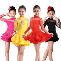 Wholesale Cheap Belly Dance Costumes - Child Latin Dance Skirt Long Sleeve Rumba Stage Costume Cheap 2017 New Arrival Girls Latin Competition Dancing Wear