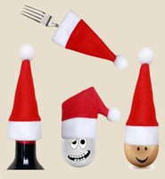 Wholesale red dinnerware - Christmas Santa Claus Hat Cap Knife Fork Holder Dinnerware Covers XMAS Party Tableware Dinner Table Decoration red