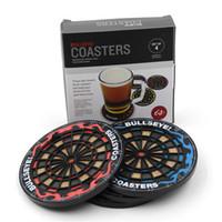 tapis de protection achat en gros de-Circulaire Coupe Pad Dartboard Coasters Glissement Silicone Isolation Pad Cuisine Bar Verre Mat, 4 pcs / Set