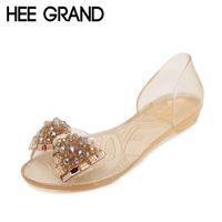 Wholesale Jelly Peep Toe Flats Black - Wholesale-HEE GRAND Women Sandals Summer Bling Bowtie Fashion Peep Toe Jelly Shoes Sandal Flat Shoes Woman 2 Colors Size 36-40 XWZ722