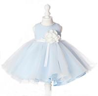 светло-голубые короткие платья девушки оптовых-Летняя коллекция 2019 Real Made с коротким цветочным платьем ручной работы с цветочным вырезом ручной работы Голубое бальное платье Вечеринка для детей
