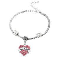 Wholesale Pink Gold Rhinestone Heart Pendant - Wholesale-Charm Nurse Xmax Gifts Love Heart Clear Pink Blue Rhinestone Crystal Pendant Silver Bangles Bracelets Party Women Men Jewelry
