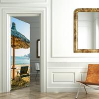 duvarlar için plaj etiketleri toptan satış-Plaj Şemsiye Duvar Dekorasyon Oturma Odası için Çıkarılabilir Duvar Çıkartmaları PVC Su Geçirmez Kapı Deniz Recliner Sandalye ...