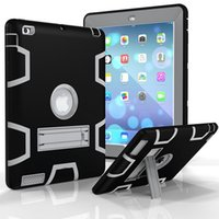 Wholesale Ipad 234 Covers - 3 in 1 Defender shockproof Ipad case Heavy duty protective STAND Cover for ipad 234 air mini 1234