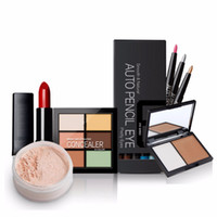 Wholesale Color Value - Wholesale- Value 5pcs Makeup Set Lipstick + Loose Powder +12 Color Eye Shadow   Liner + 6 color concealer + Double color bronzing powder