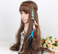 Wholesale Tribal Beads Wholesale - idealway Handmade Ethnic Tribal Gypsy Rope Wood Beads Feather Tassels Hairband Hair Clip For Women Jewelry