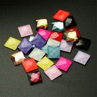 Wholesale Diy Rhinestones For Phone Cases - 6mm Square Shape Glass Flatback Rhinestone Candy Color Glue On Stone For Phone Case Craft Diy 100pcs set