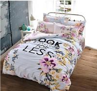 kral yatağı pamuklu yatak takımları toptan satış-Çevre Dostu Pamuk Mandala Stil Geometrik Nevresim Takımları Zımpara Pamuk Kumaş Kraliçe Kral Nevresim Seti 4pcs Yatak Seti