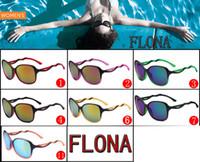 gafas de sol azul al por mayor-Moda FLONA las gafas de sol ULTRAVIOLETA para las mujeres resina lente azul Acetato Deportes Montar los vidrios de Sun de las gafas