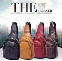 Wholesale Cross Body Bags Phone - New Designer Genuine Leather Real Cowhide Retro Men Messenger Shoulder Cross Body Bag Triangle Travel Trend Chest Day Back Pack