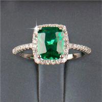 anel de gemas de zircônia venda por atacado-Big Promoção 3ct Real 925 Anel de Prata Elemento SWA Diamond Emerald Gemstone Anéis Para As Mulheres Por Atacado de Jóias de Noivado Casamento Novo