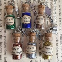 Wholesale instrument necklaces resale online - 12pcs City of Bones Ashes Glass Bottle Necklace Pendant inspired The Mortal Instruments silver tone jewelry