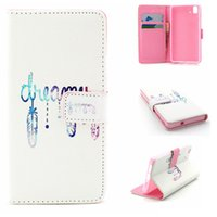Wholesale Aquaris Flip - White Dreaming Pattern Pu Leather Flip Stand Wallet Card Slots Pouch Cover Case For BQ Aquaris E5 4G New