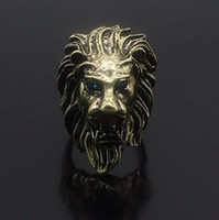 Wholesale gold lion head ring - Punk Copper Lion Head Ring Men Unique Charm Jewelry Rings Party Accessories