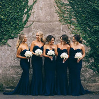 Wholesale Trumpet Line Wedding Dresses - Cheap Navy Blue Bridesmaid Dresses Sweetheart Sleeveless A Line Mermaid Long Junior Bridesmaid Dresses Maid Of Honor Dresses For Wedding