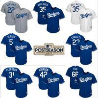 Wholesale Los Dodgers - 2017 Postseason Men's Los Angeles Dodgers Seager Clayton Kershaw jerseys Gonzalez Piazza Cody Bellinger Robinson Puig Cool Base Jersey